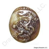 Brown Jade Chinese Dragon Pendant