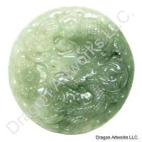 Carved Green Jade Pendant of Mighty Dragon