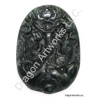 Chinese Black Jade Dragon Pendant of Respect