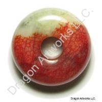 Red and Green Jade Pi Disc Necklace Pendant
