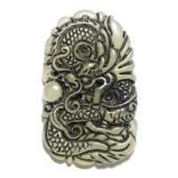Carved Antique Look Jade Dragon Pendant